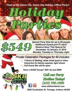 flyer about Sk8 World of Portage Indiana holiday party special