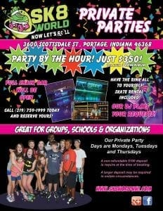 flyer for Sk8 World Portage private parties