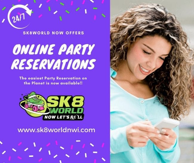 Pretty Woman on cell phone making a birthday party reservation at Sk8 World Portage