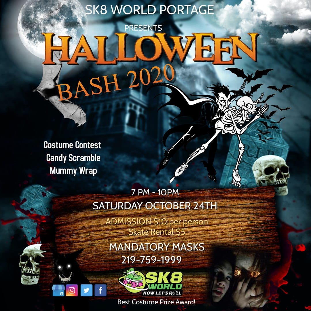 Halloween Bash Ad for sk8world Portage