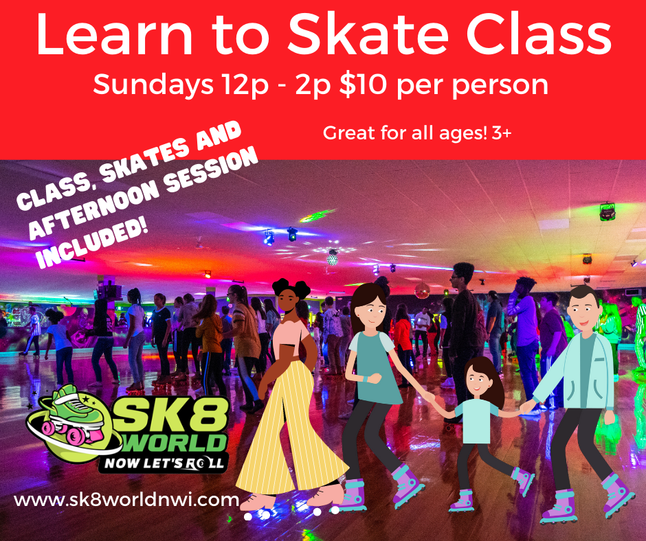 Ad for Sunday Learn to Skate Class at Sk8 World Portage